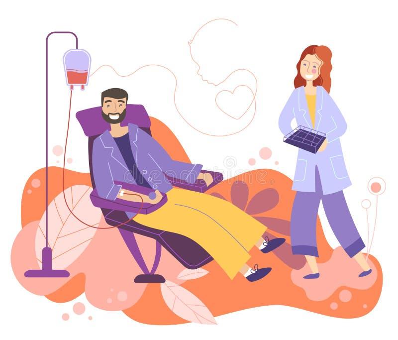 Il carattere maschio dei volontari che si siede nell'ospedale medico presiede donare il sangue Il dottore Woman Nurse Take in boc illustrazione vettoriale
