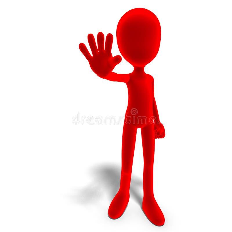Il carattere maschio simbolico di 3d Toon dice l'arresto royalty illustrazione gratis
