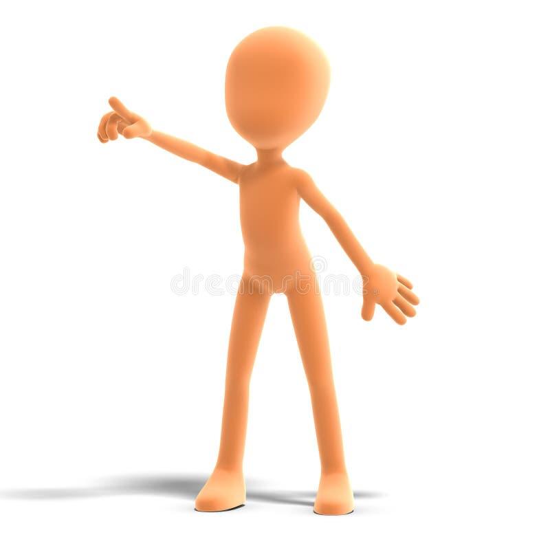 Il carattere maschio simbolico di 3d Toon li mostra illustrazione vettoriale
