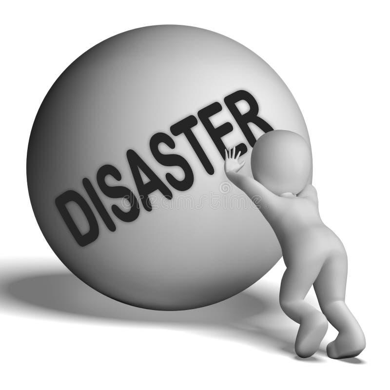 Il carattere in salita di disastro mostra la difficoltà o la calamità di crisi illustrazione di stock