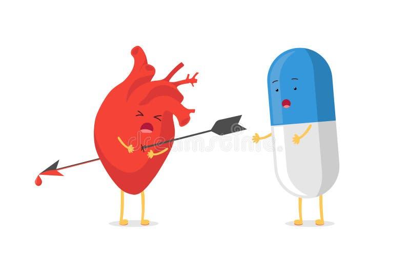 Il carattere sveglio del cuore del fumetto ha perforato la fucilazione dall'emozione triste di emoji della freccia e dalla pillol royalty illustrazione gratis