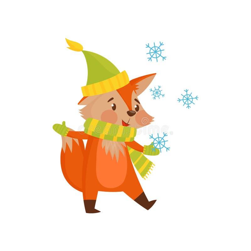 Il carattere sveglio della volpe rossa del fumetto dell'inverno con il cappello e la sciarpa vector l'illustrazione su un fondo b royalty illustrazione gratis