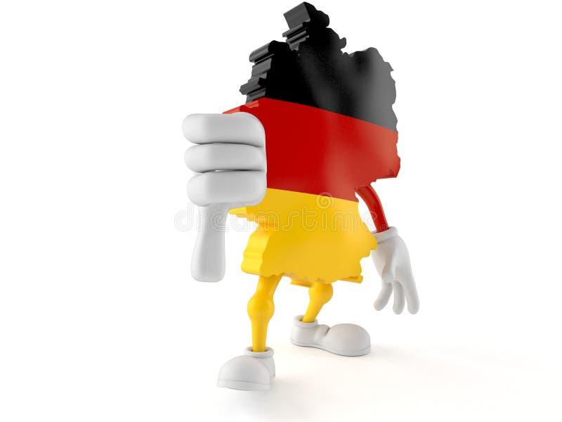 Il carattere tedesco con i pollici giù gesture illustrazione vettoriale