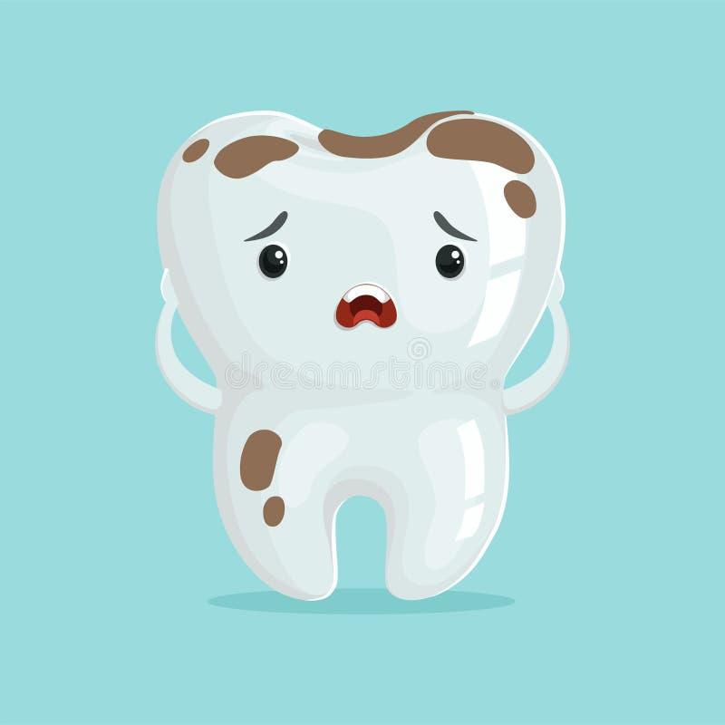 Il carattere triste sveglio del dente del fumetto con caffè macchia, illustrazione di vettore di concetto dell'odontoiatria dei b illustrazione di stock