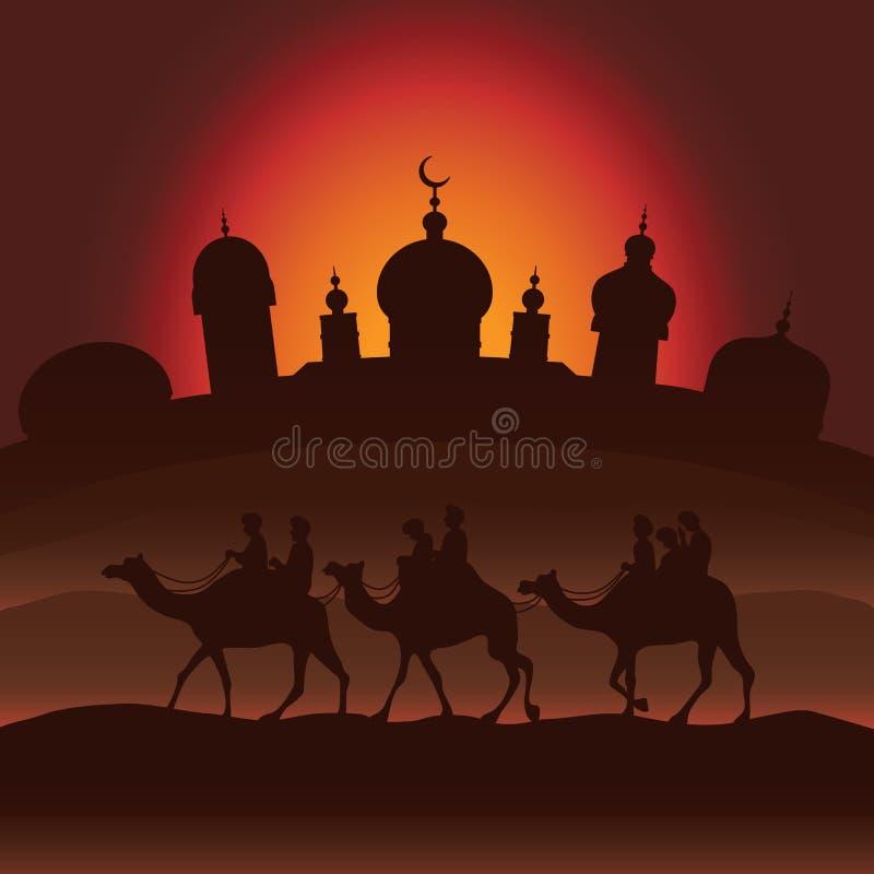 Il caravan del cammello royalty illustrazione gratis