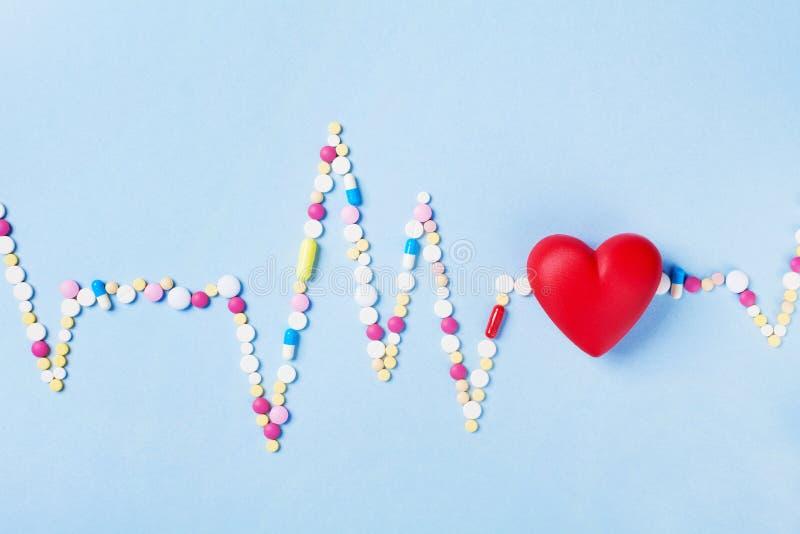 Il cardiogramma è fatto delle pillole variopinte della droga e del cuore rosso Concetto di cardiologia e farmaceutico fotografia stock libera da diritti