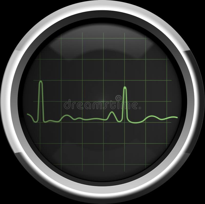 Il cardiogramma sullo schermo di cardiomonitor nei toni verdi illustrazione di stock