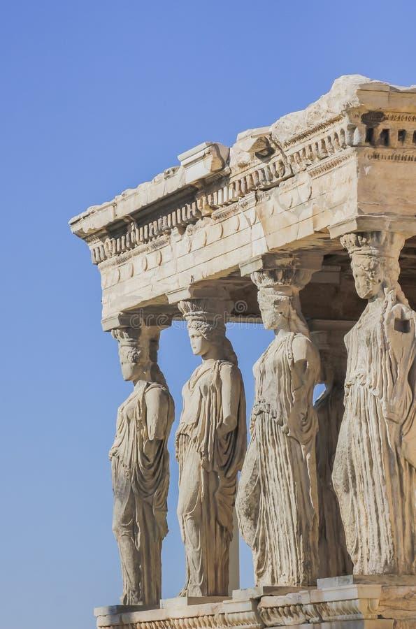 Il Cariatides del Erechtheum sull'acropoli immagini stock
