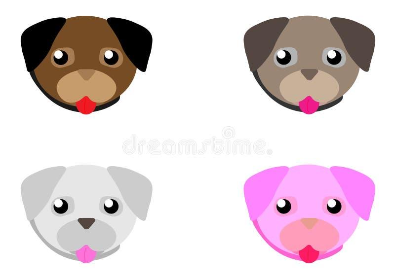 Il carlino del fumetto di web affronta l'insieme Piccolo cane adorabile con differenti emozioni Vettore piano sveglio illustrazione vettoriale