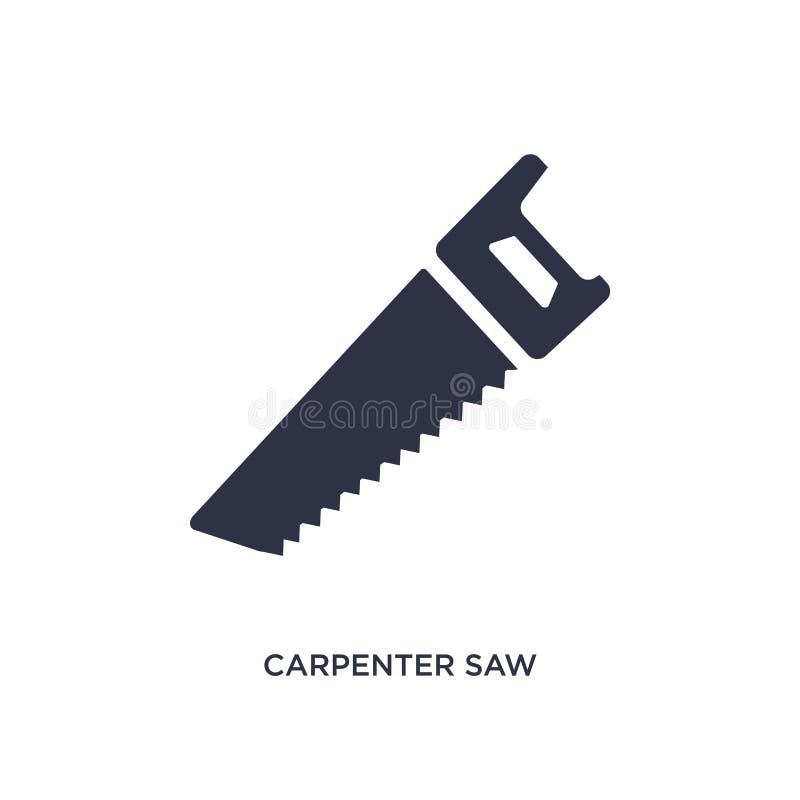 il carpentiere ha visto l'icona su fondo bianco Illustrazione semplice dell'elemento dal concetto degli strumenti illustrazione vettoriale
