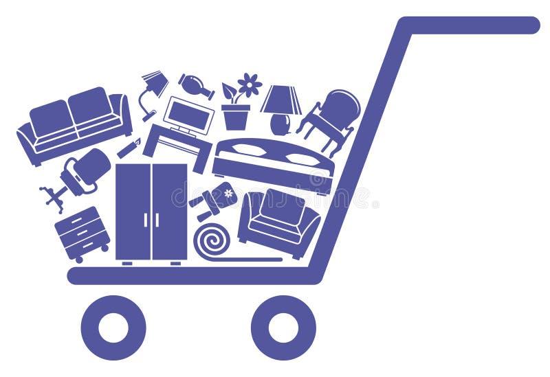 Il carrello con mobilia royalty illustrazione gratis