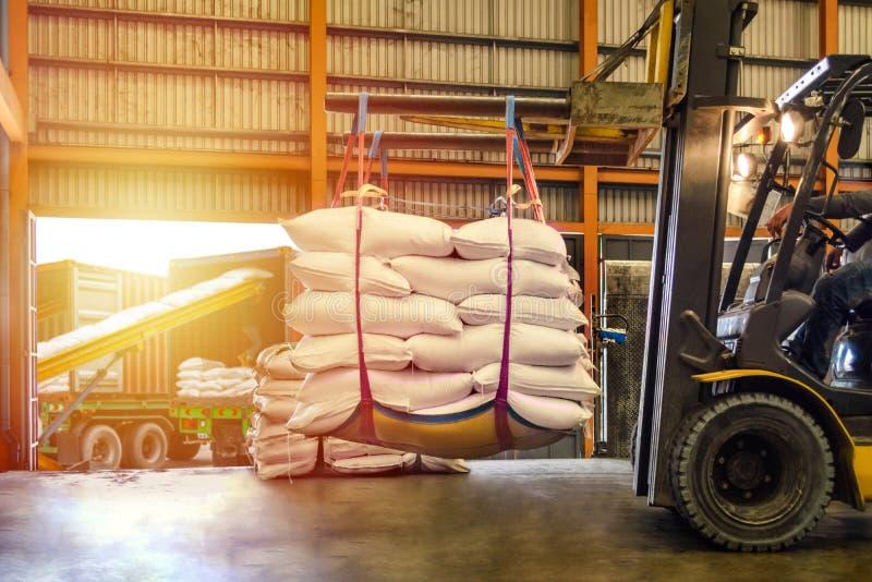 Il carrello elevatore che tratta lo zucchero bianco insacca per il riempimento nei contenitori fuori di un magazzino fotografie stock