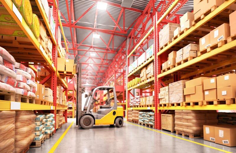 Il carrello elevatore nel grande magazzino su fondo vago illustrazione 3D illustrazione di stock