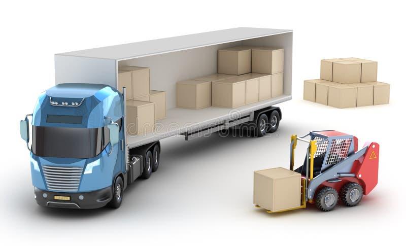 Il carrello elevatore sta caricando il camion. illustrazione di stock