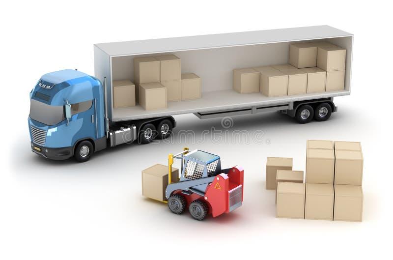 Il carrello elevatore sta caricando il camion illustrazione di stock