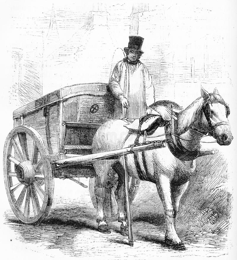 il carretto dei rifiuti utilizzato a Londra royalty illustrazione gratis