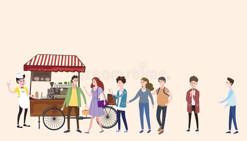 Il carretto del caffè, barista, ha colorato la composizione all'aperto nella caffetteria, città, con i compratori che stanno nell royalty illustrazione gratis