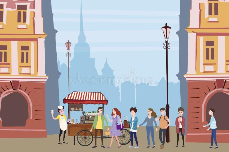 Il carretto del caffè, barista, ha colorato la composizione all'aperto nella caffetteria, città, con i compratori che stanno nell illustrazione vettoriale