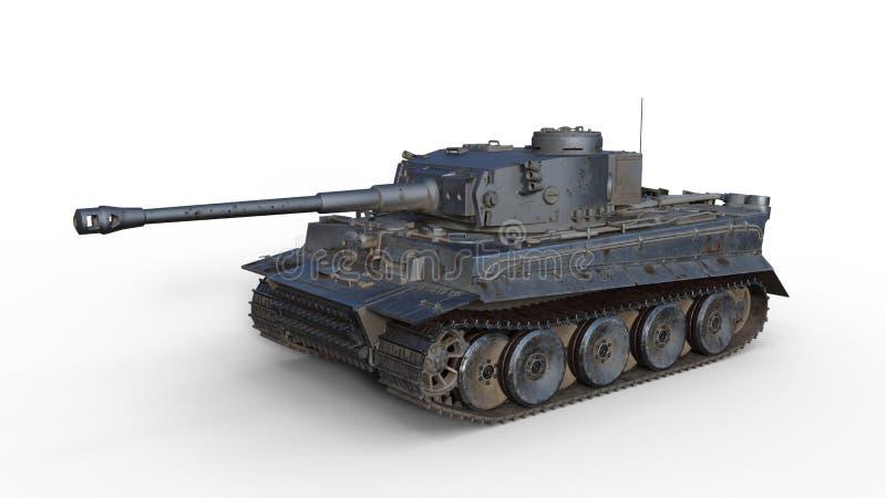 Il carro armato di esercito vecchio, il veicolo militare corazzato d'annata con la pistola e la torretta su fondo bianco, 3D rend fotografie stock libere da diritti