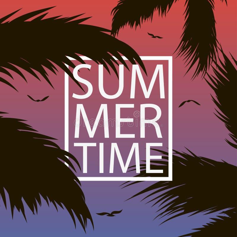 Il cartellino marcatempo dell'estate con le palme copre di foglie, gull ed incornicia Fondo per l'insegna, manifesto, cartolina,  illustrazione di stock