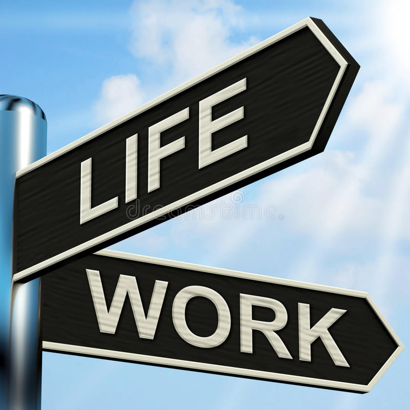 Il cartello del lavoro di vita significa l'equilibrio della carriera immagini stock libere da diritti