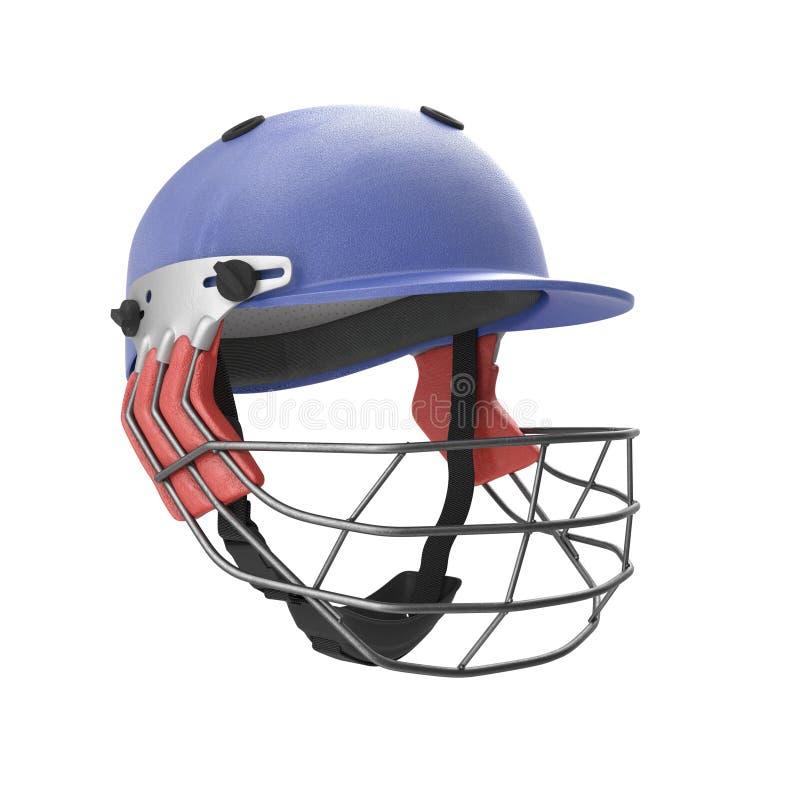 Il casco blu del cricket ha isolato l'illustrazione 3D su fondo bianco