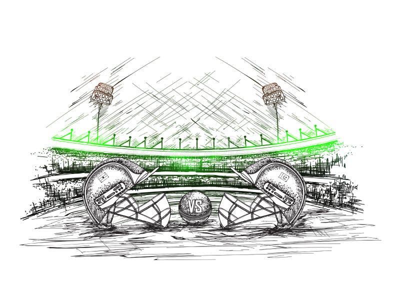 Il casco dell'abbigliamento del cricket dei partecipanti ha tenuto come fronte fuori con la palla sullo stadio del cricket illustrazione vettoriale