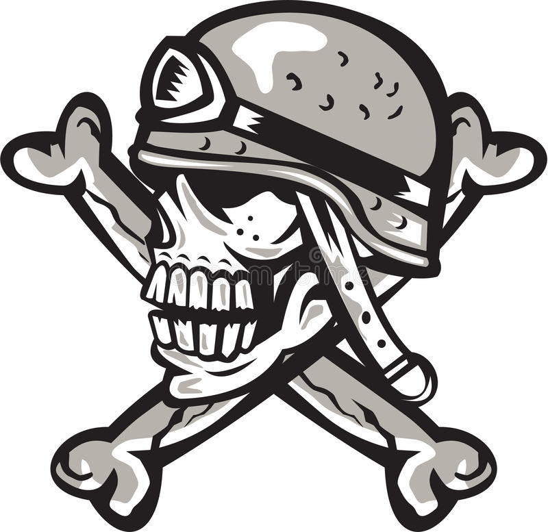 Il casco militare del cranio attraversato disossa retro illustrazione di stock