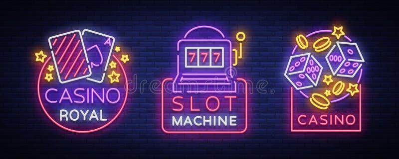 Il casinò è un insieme delle insegne al neon Raccolta dell'emblema di gioco dello slot machine al neon del logos, il casinò al ne illustrazione di stock