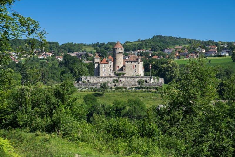 Il castello de Montrottier (castello di Montrottier) vicino ad Annecy, Haute Savoie, Francia fotografie stock libere da diritti