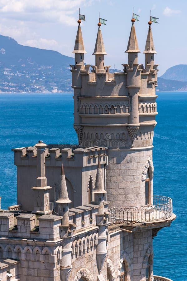 Il castello dei sorsi annida sulla costa di Mar Nero, Crimea ? un punto di riferimento famoso della Crimea immagine stock libera da diritti