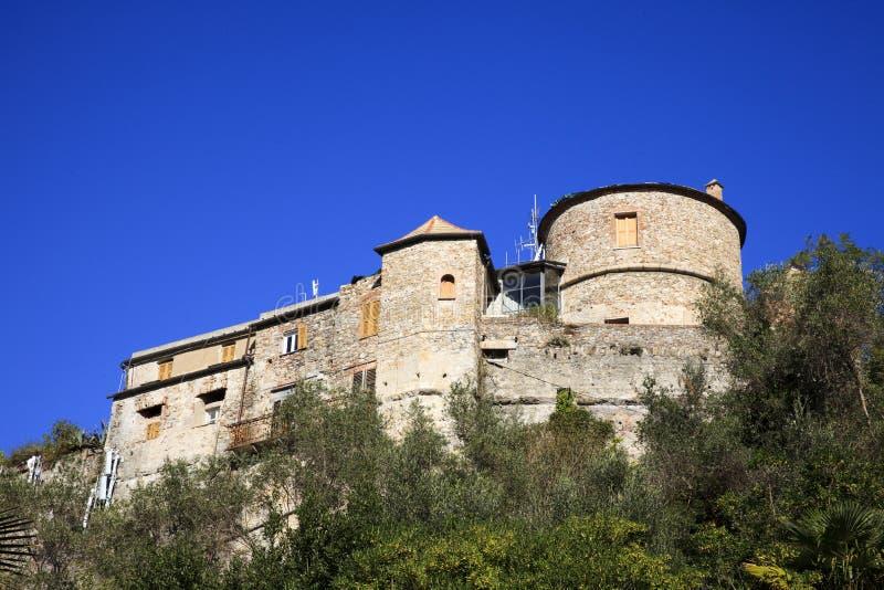 Il castello del Portofino antico, Genova, Liguria, Italia fotografie stock libere da diritti