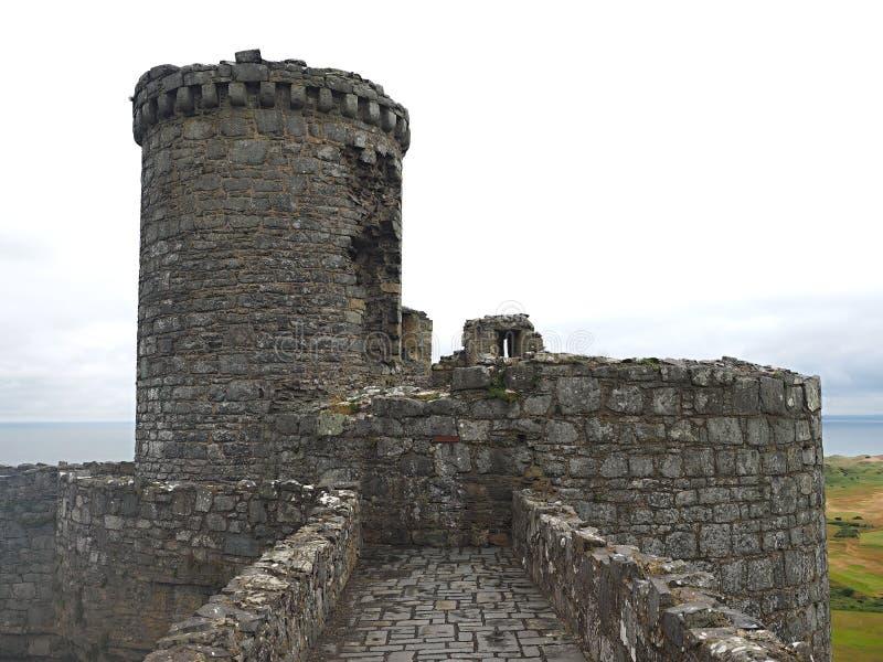 Il castello di Harlech situato rovine-spettacolare sembra svilupparsi naturalmente dalla roccia su cui si appollaia Come un tutto immagini stock libere da diritti