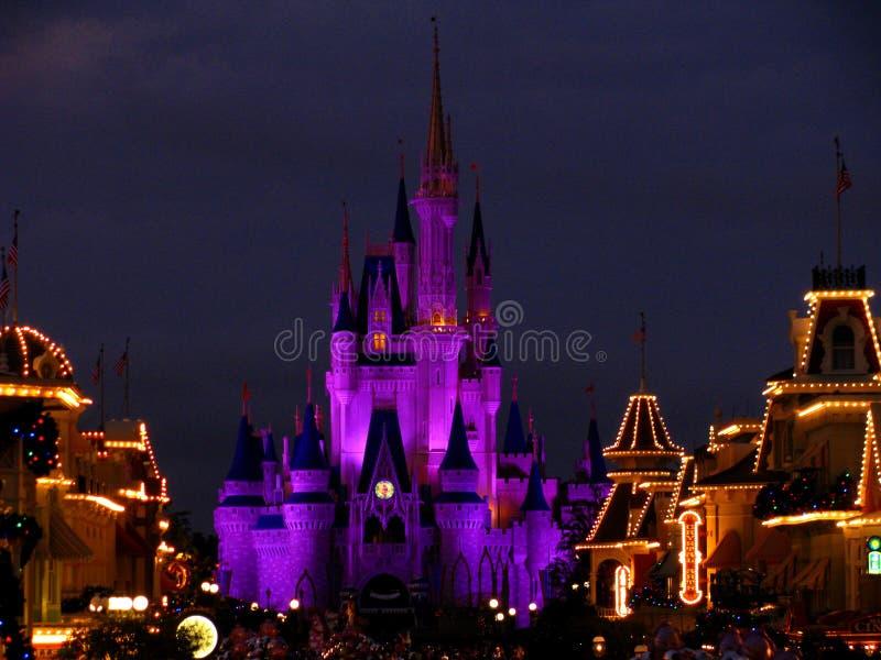 Il castello magico di regno di Disneyworld illumina 4 fotografia stock