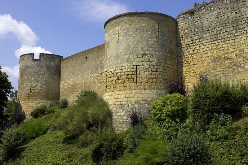 Il castello mura Loire Valley montreuil-bellay Francia fotografie stock
