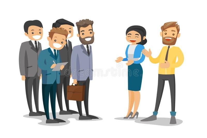 Il Caucasian delega la rete durante la conferenza royalty illustrazione gratis