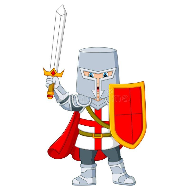 il cavaliere che tiene una spada illustrazione di stock