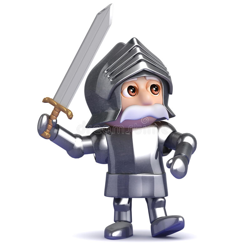 il cavaliere 3d progredisce nella battaglia illustrazione di stock