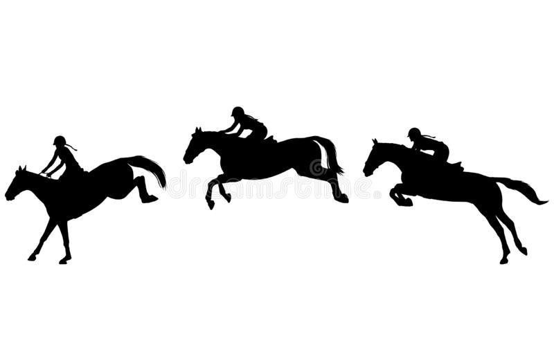 Il cavaliere del cavallo salta a tre punti, saltanti la manifestazione Sport equestre Siluette di alta qualità illustrazione di stock