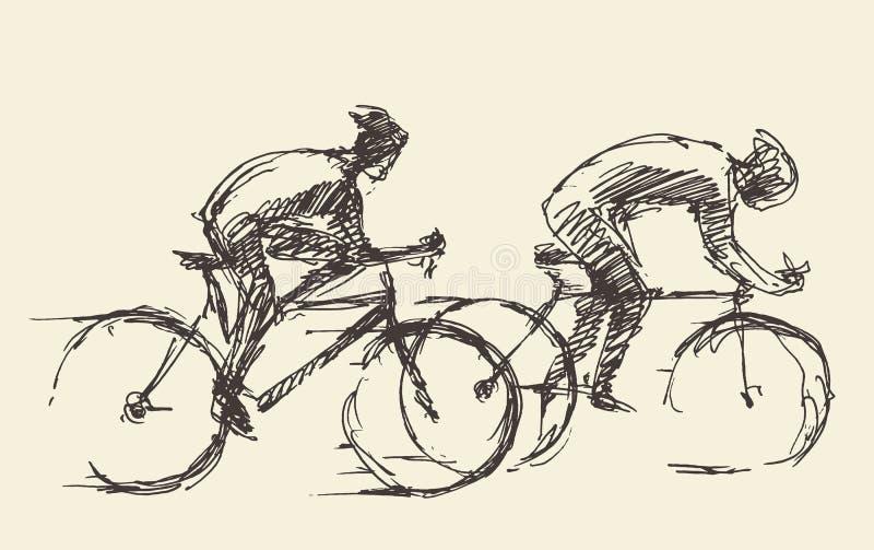 Il cavaliere del ciclista equipaggia lo schizzo disegnato a mano di vettore della bici royalty illustrazione gratis