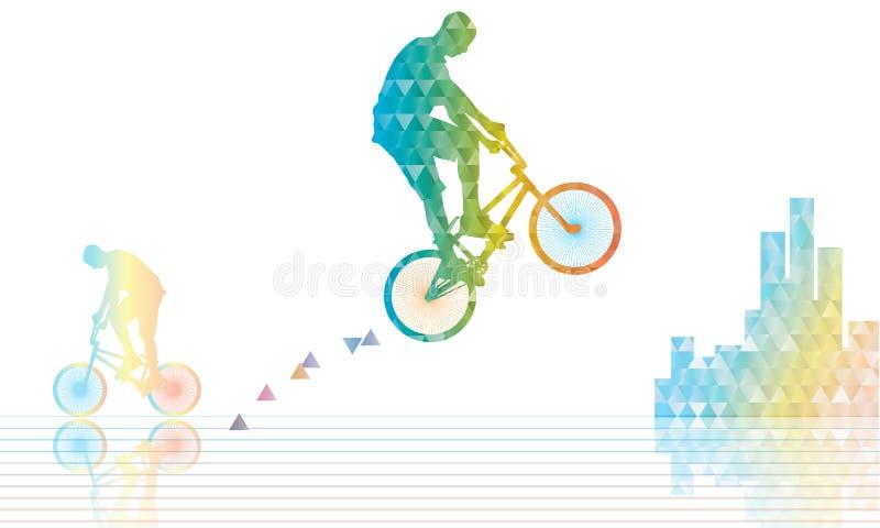 Il cavaliere di Bmx salta il poligonal illustrazione vettoriale