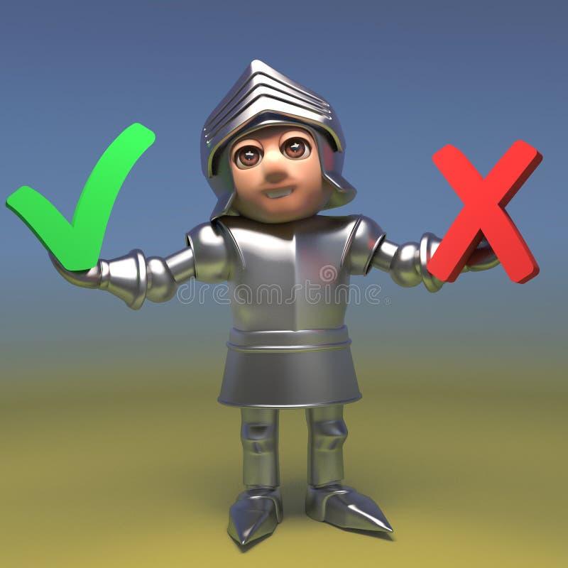Il cavaliere medievale non decisivo ha una scelta fra un segno di spunta e un incrocio, l'illustrazione 3d illustrazione vettoriale