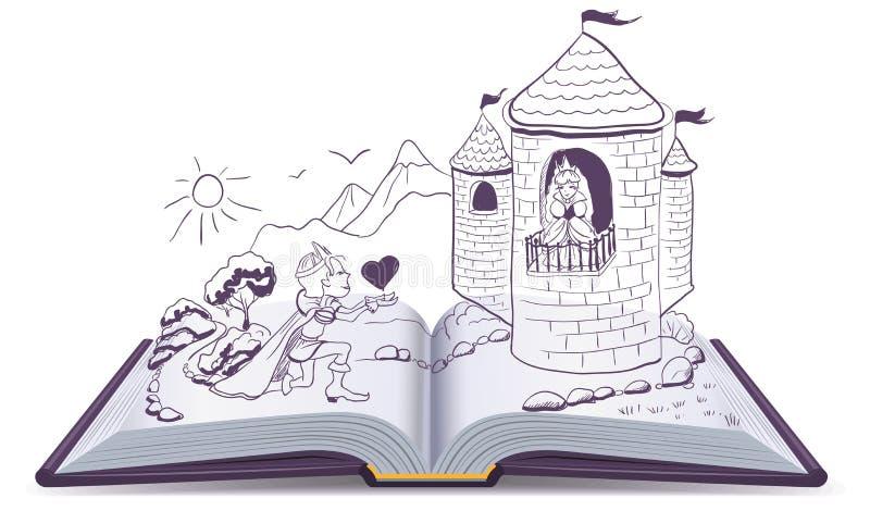 Il cavaliere sta inginocchiandosi davanti a principessa in castello Apra il libro illustrazione di stock