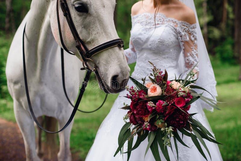 Il cavallo bianco fiuta il mazzo nuziale in mani del ` s della sposa fotografia stock libera da diritti