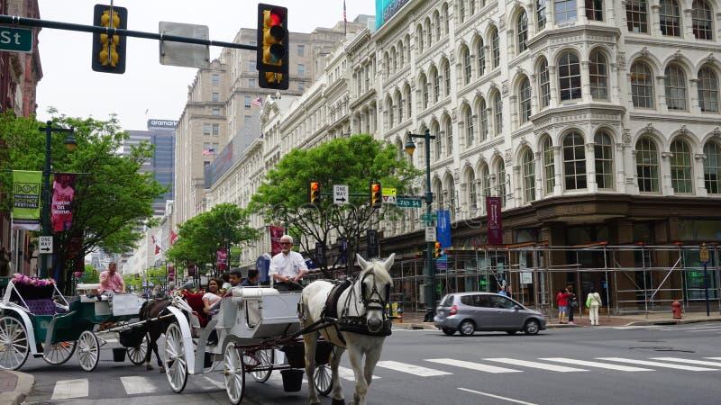 Il cavallo ed il trasporto guida in Filadelfia, U.S.A. fotografia stock