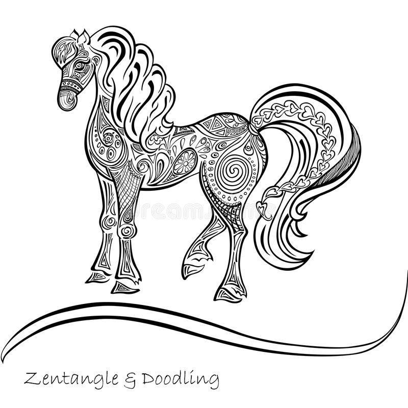 Il cavallo orna i modelli in bianco e nero fotografia stock