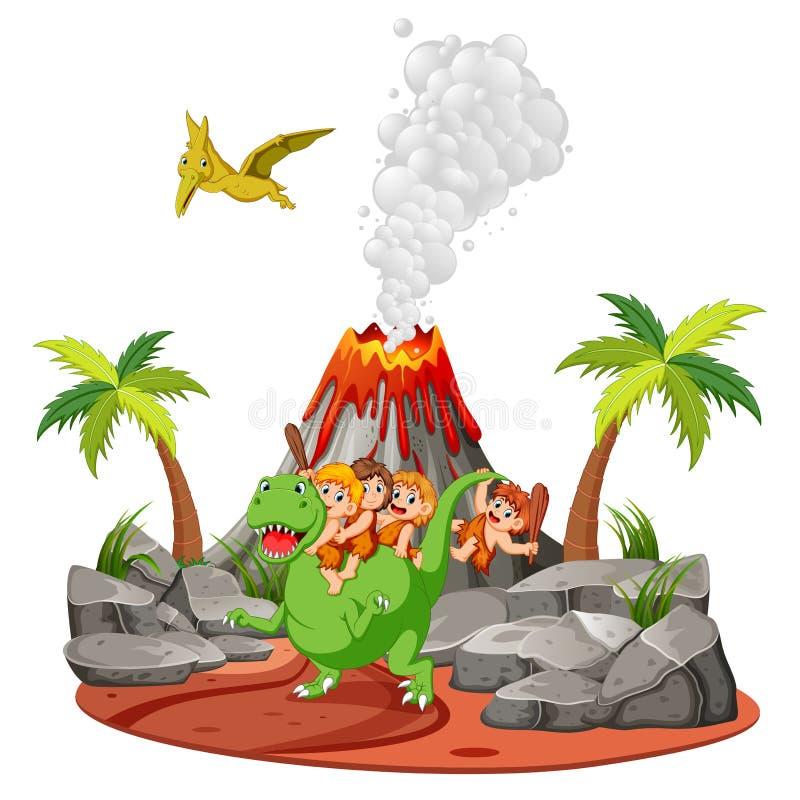 Il cavernicolo che gioca con i dinosauri vicino al vulcano illustrazione di stock