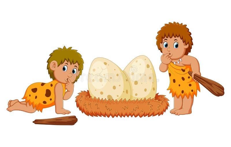 Il cavernicolo sta stando accanto alle uova di dinosauro royalty illustrazione gratis