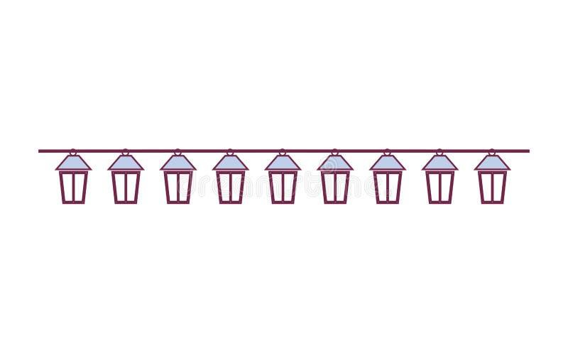 Il cavo di estensione di colore pastello accende la lampada del faro di forma illustrazione di stock