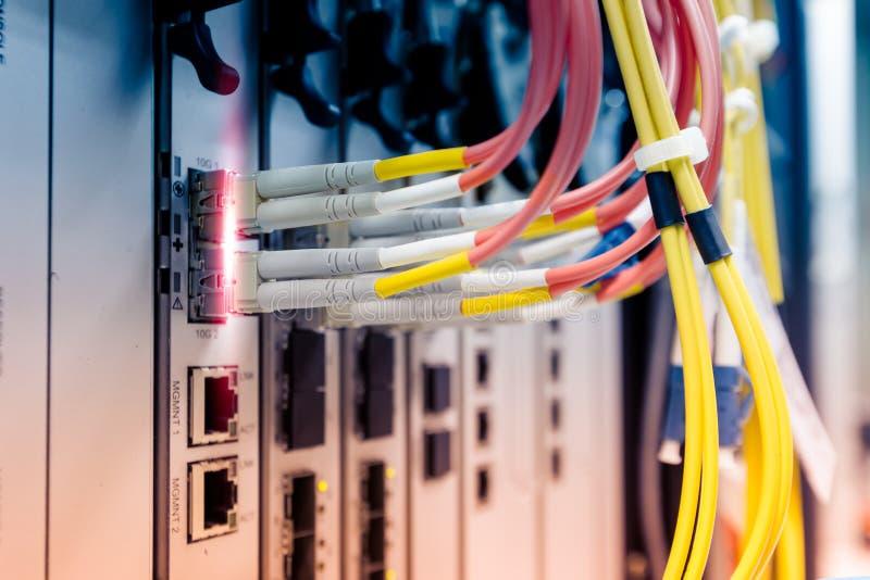 Il cavo a fibre ottiche si collega al commutatore di Ethernet fotografia stock